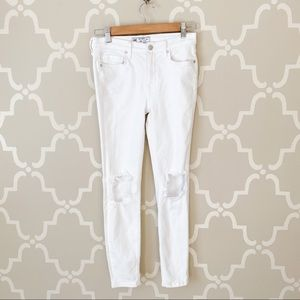 Free People White Distressed Knees Jeans